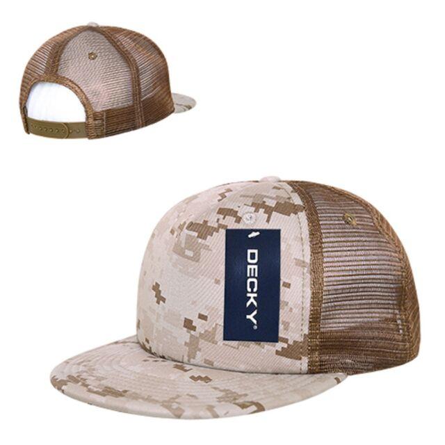84935724c06c44 Desert Camo Camouflage Mesh Flat Bill Military Marines Trucker Baseball Cap  Hat