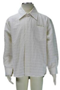 Jacadi Niño Cibler Natural & Blanco Rayas Camisa Talla 4 Años Nwt