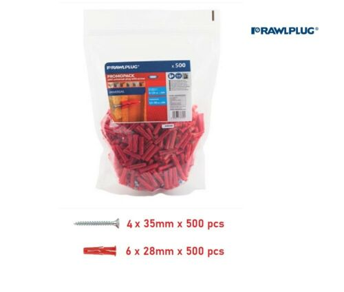 500 Pack UNO RAWALPLUG 6mm Red Plugs /& 4 x 35mm Screws Free Postage