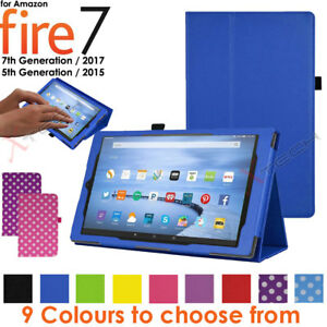 """Folding Leather Flip Case Cover & Stand for Amazon Fire 7"""" 2017 Alexa (7th Gen)"""