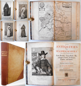 1656 FIRST ED. Dugdale ANTIQUITIES WARWICKSHIRE Maps History Topography Plates