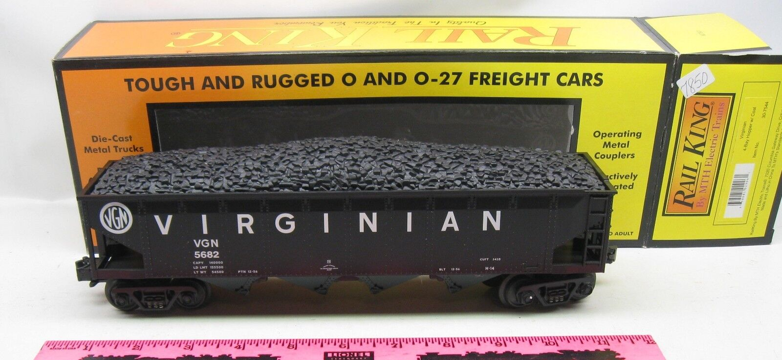 Rail King By MTH  30-7544 Virginian 4-bay hopper with coal
