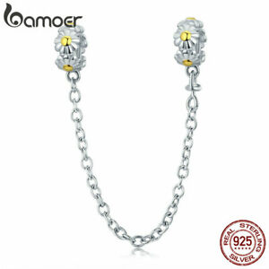 BAMOER-100-Sterling-Silver-Charm-Daisy-wreath-Safety-chain-With-CZ-Fit-bracelet