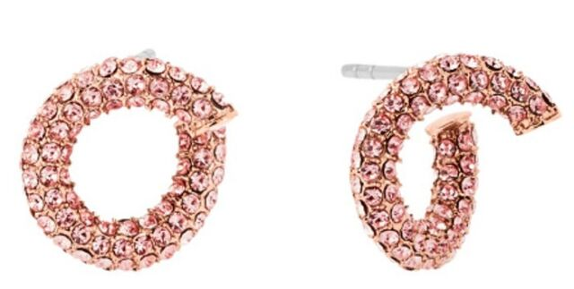 cddd68c3f6511f Michael Kors Rose Gold Tone Pink Pave Crystals Twist Earrings ...