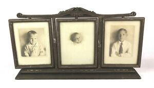 Antique Vintage 1920's Art Nouveau Ornate Three Panel Picture Rotating Frame 8x6