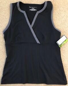 NWT-TEK-GEAR-YOGA-Cross-Front-Sleeveless-Top-BLACK-Size-L