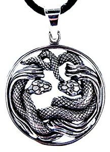 Snakes pendant 925 Sterling Silver & Silver Chain Snake Serpent Nr.41