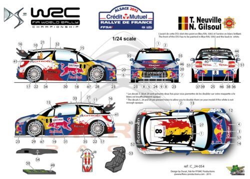 FFSMC Productions Decals 1//24 Citroën DS3 WRC Neuville Rallye de France 2012