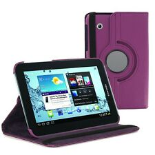"""Purple 360 Rotating Folio Leather Case Cover for Samsung Galaxy Tab 2 7"""" P3100"""