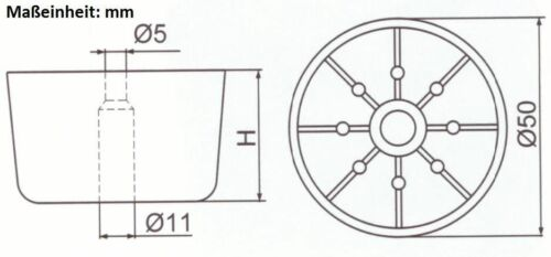 Ø50mm verstärkte Möbelgleiter Höhe 15mm 25mm 28mm 35mm 50mm Kunstoff SEHR STABIL