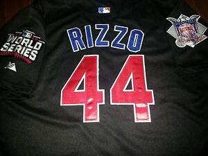 online store 07a75 6cbb7 Details about NEW 2016 Majestic Chicago Cubs #44 Anthony Rizzo WS patch  black Jersey XL men's