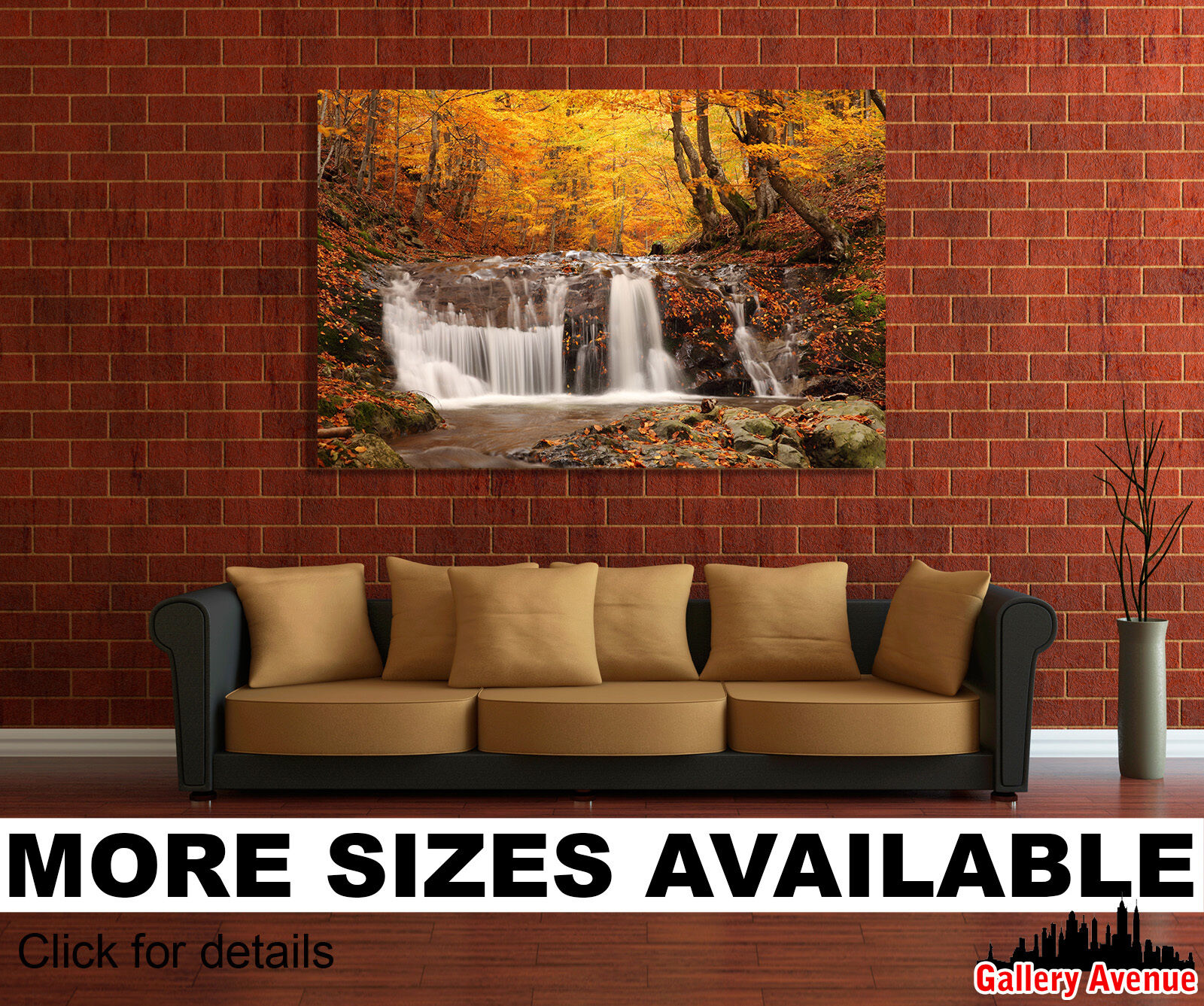 Wall Art Canvas Picture Print - Autumn Leaf Fall Waterfall Stones 3.2