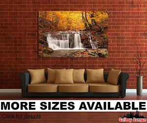 A Wall Art Canvas Picture Print Autumnal Fall Trees Orange Forest 3.2