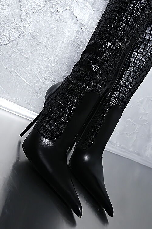 MADE IN ITALY LUXUS DAMEN POINTY STRETCH LEDER BOOTS HIGH HEEL G60 LEDER STRETCH STIEFEL 36 9ad634