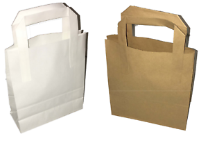Paper-Carrier-Bags-White-Brown-SOS-Kraft-Takeaway-Flat-Handles-S-M-L-Food-Lunch