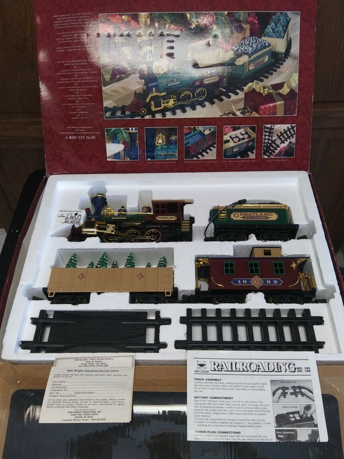 nuovo in scatola 1992 GreatLe Holiday ExpressG Gauge nuovo Bright Train set