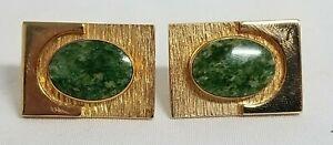 vintage Dant\u00e9 1970s jade green stone /& gold tone cuff links \u2022\u00a0stylized modernist square cufflinks
