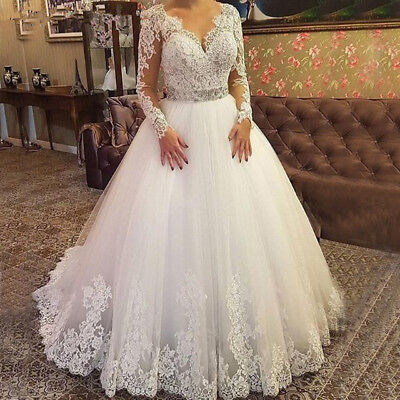 Plus Size Long Sleeves Lace Wedding Dresses Bridal Gown Tulle V Neck Ball  Gowns | eBay