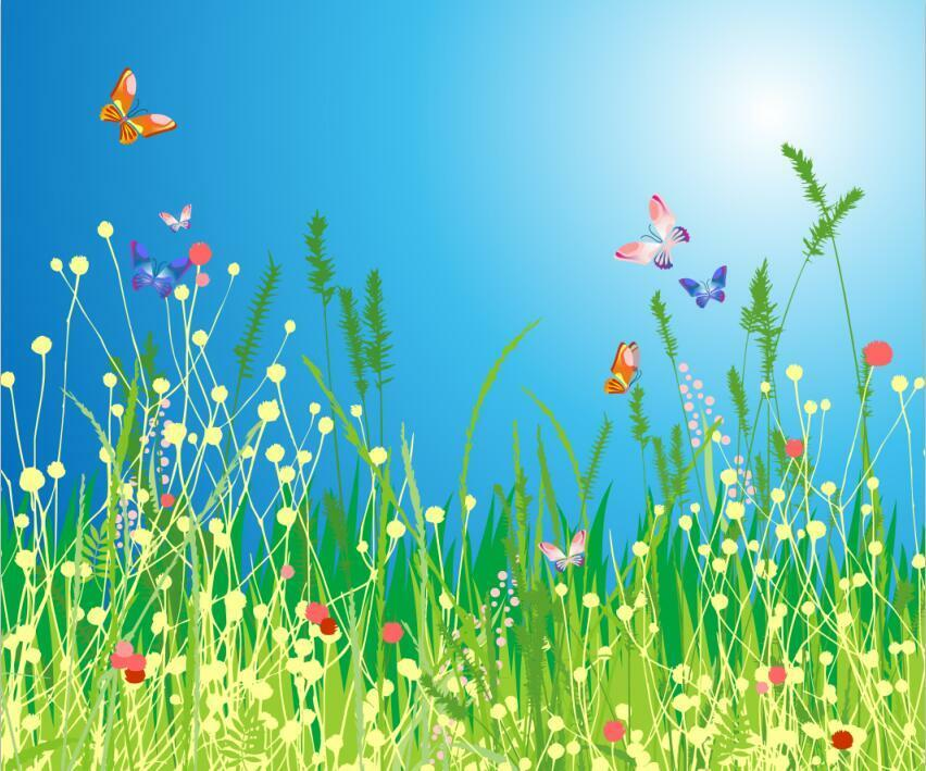 3D Grass And Butterflies Wall Paper Print Decal Wall Deco Indoor wall Mural