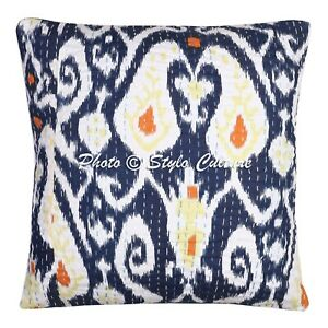 Decorative-Cotton-Patio-Cushions-Blue-16-x-16-Inch-Kantha-Ikat-Pillow-Covers