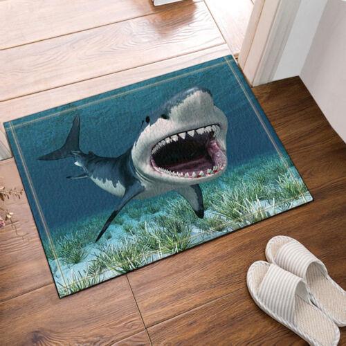 """Shark Open Mouth in Ocean Bathroom Rug Non-Slip Floor Door Mat Flannel 16x24/"""""""