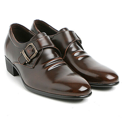 "Men/'s 2.6/"" UP cow Leather increase height Monk wrinkle elevator shoes US 6-US 10"