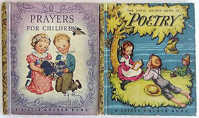 Vintage Little Golden Book Lot POETRY Prayers for Children Paper Spines