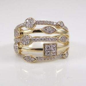 14K-Yellow-Gold-Ring-0-75ctw-Diamond-Modernist-Geometric-Multi-Band-Size-8-LHC2
