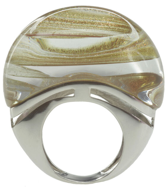 Sand Stone Gold Stone Sparkling Huge Sterling Silver Ring