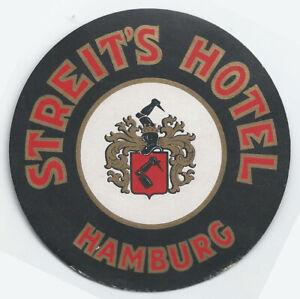 HAMBURG GERMANY HOTEL DANISCHER HOF VINTAGE ART DECO LUGGAGE LABEL