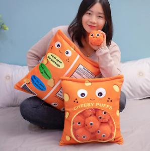 Snack Plush Cheese Puffs Balls Chips Bag Funny Cute Kawaii Stuffed Soft Pillow