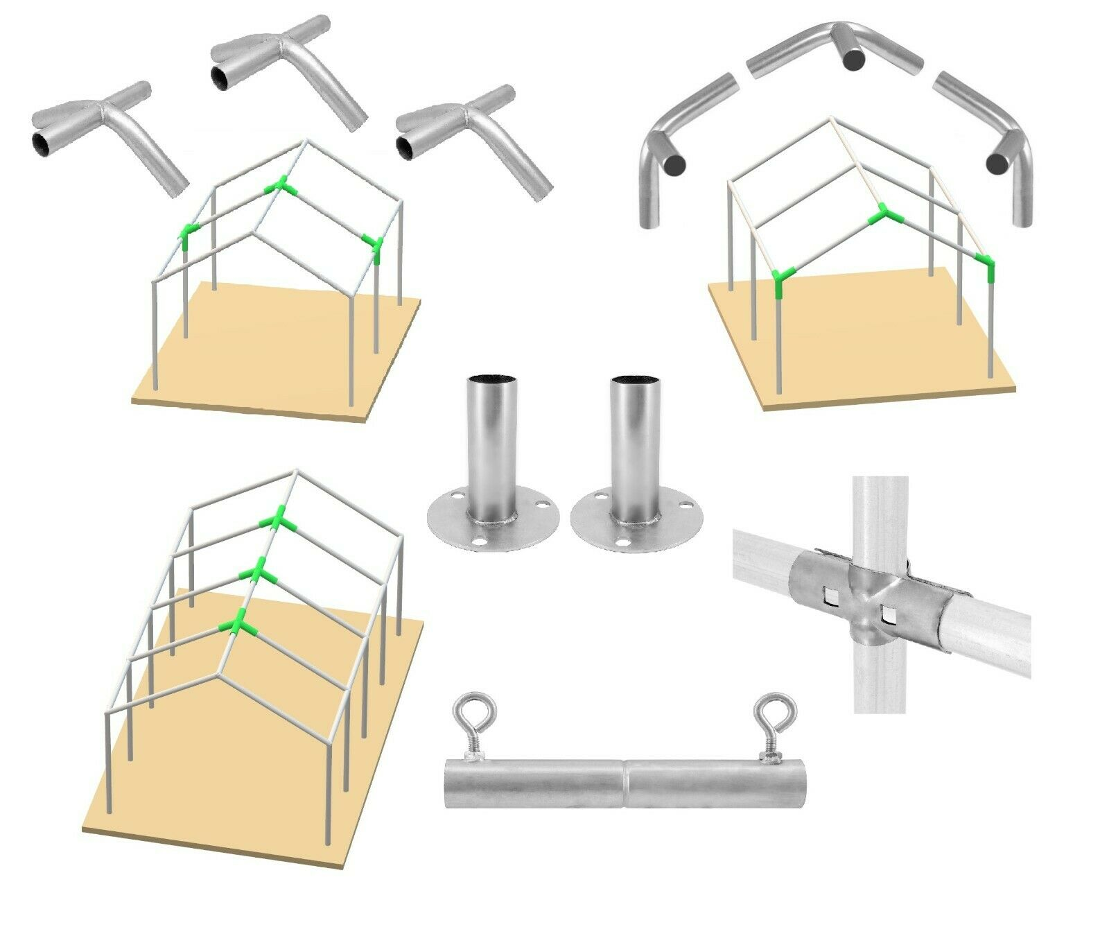 4-Way 1-3//8/'/' ID LOW PEAK Frame Connectors Canopy EAVE Fittings SET of 1-20