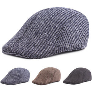 Homme-Chaud-Tricot-Coton-Raye-Conduite-Golf-Cap-Casual-Newsboy-berets-Hat
