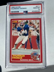 1989-SCORE-Thurman-Thomas-Rookie-Card-RC-PSA-10-Gem-Mint-Buffalo-Bills-HOF