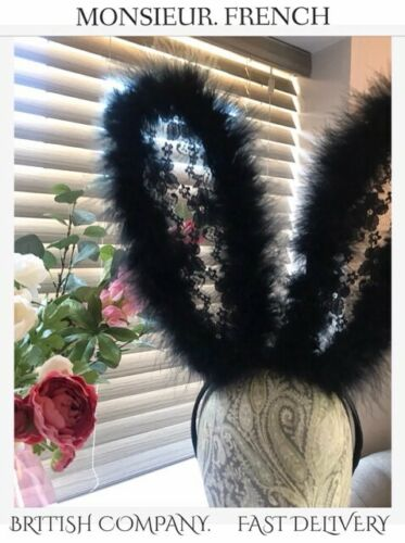 BLACK Rabbit LACE FEATHER Hairband HALLOWEEN Party DRESS UP