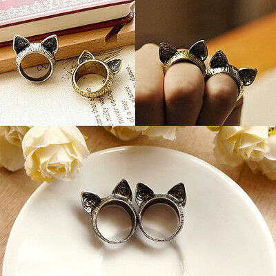 Fashion Jewelry Unisex Vintage Retro Cute Cat Ears Finger Ring Silver/Bronze