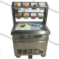 64x40cm Fry Pan Electric Thai Fried Ice Cream Yogurt Roll Maker Machine 8 Box