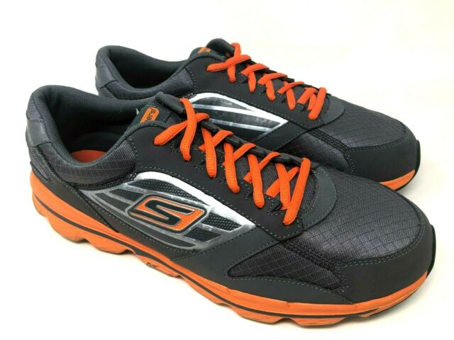 Skechers Go Skechers Mens Gray Orange Running Athletic Shoes Size 11
