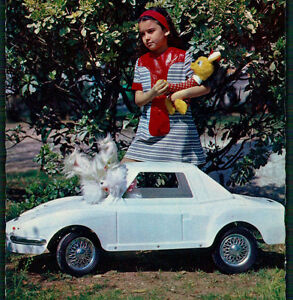 Girl w/vintage TOYS: superb RETRO PEDAL CAR + Plush Animals. Vintage Postcard