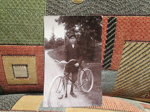 """Young man w/ bicycle - 3.5"""" x 5.5"""" photograph postcard SWEDEN 1915-30"""