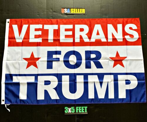 Donald Trump 2020 Flag *FREE FIRST CLASS SHIP!* Veterans For Trump New Sign 3x5/'