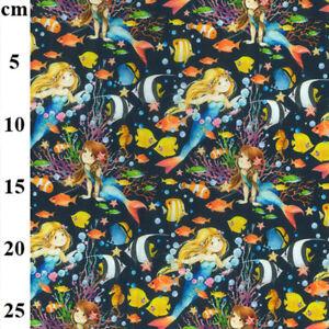 Mermaids-Seahorses-amp-Tropical-Fish-100-Cotton-Craft-Kids-Fabric-Material-Mtr