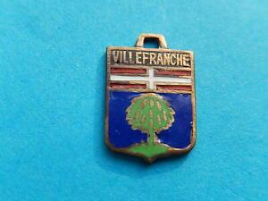 Vintage Enamel french Travel Shield Charms  TREE VILLEFRANCHE VITAM