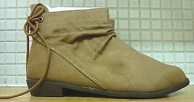 H&M Girls Imitation Suede Laces & Zip Ankle Boots Size 2.5 NEW RRP £23.99 Beige