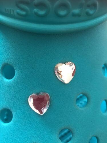 2 Diamante Joya corazón encantos del Zapato Para Crocs /& Jibbitz Pulseras Gratis Reino Unido P/&p.