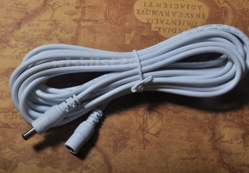 5M 16ft 5.5*2.1 White 22AWG DC Power Adapter Extension Cable Cord CCTV IP Camera