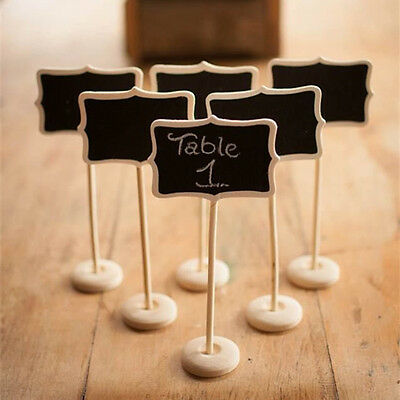 24pcs Mini Wooden Blackboard Chalkboard Stands Wedding Table Number Party Lolly
