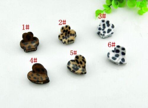 Fashion Korean Women Leopard Print Heart Shape Mini Hair Claw Clips Barrette