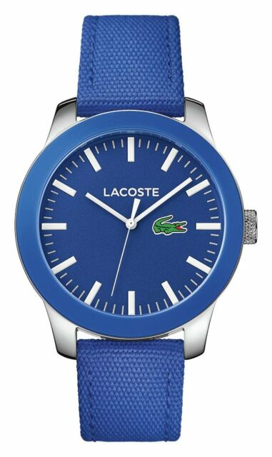 Lacoste Men's 12.12 Steel Blue Nylon Strap Watch.