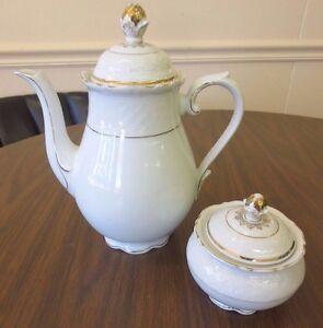 Vintage Schumann Bavaria White Gold Flower Scroll Coffee Teapot & Sugar Bowl